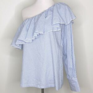 Ann Taylor Loft One Shoulder Ruffle Top Size Large